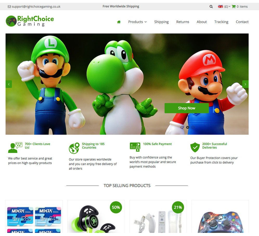 eCommerce Website: Gaming | PS4 | XBOX | 100+ Products