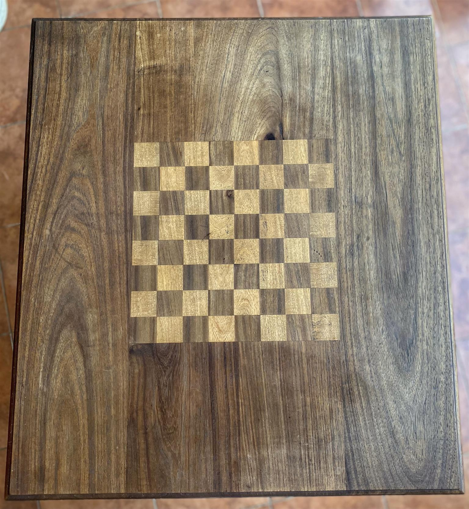 Hand Crafted solid Black and Yellow Wood Chess/Coffee Table with drawers