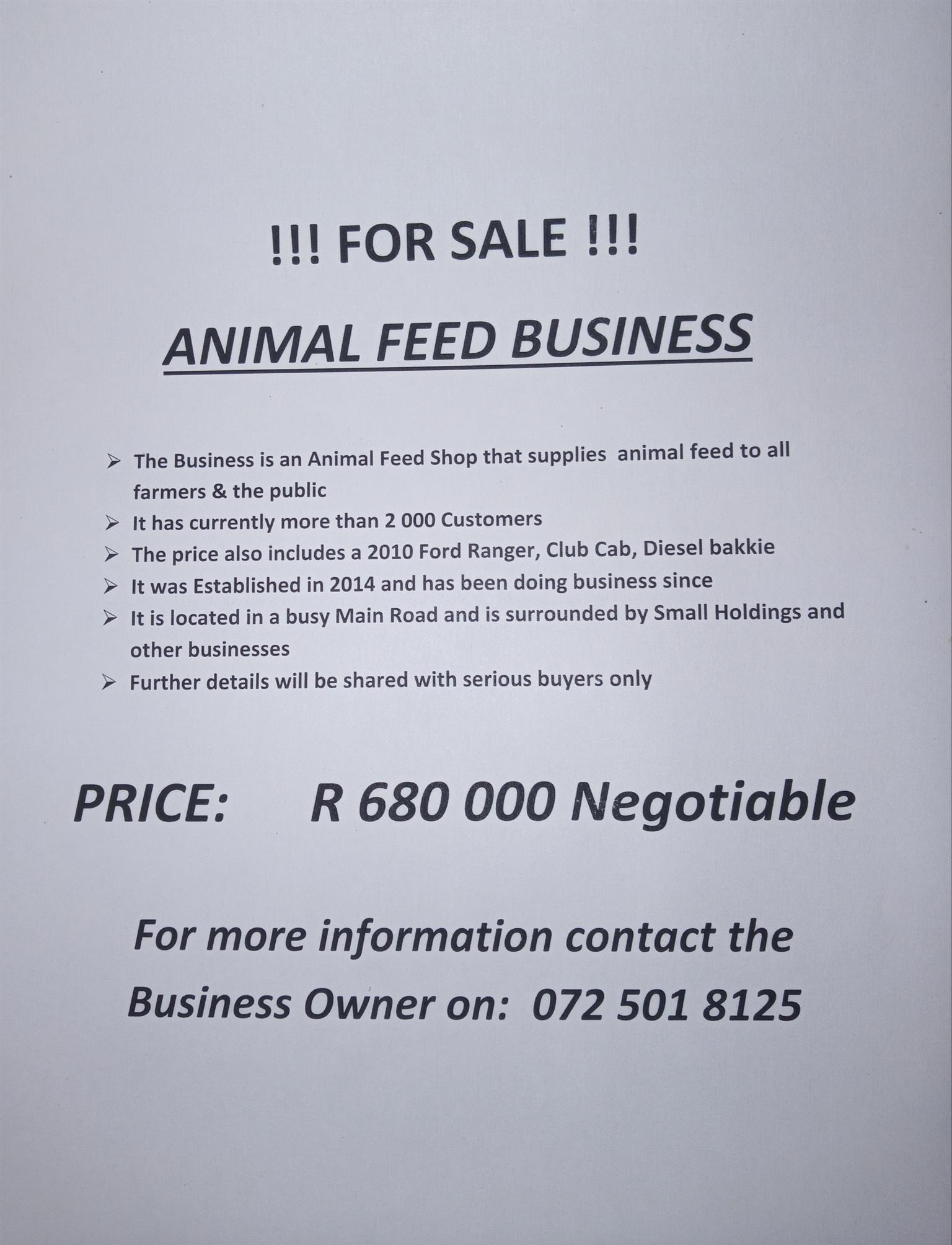 MT VEEVOERE / ANIMAL FEEDS - BUSINESS FOR SALE