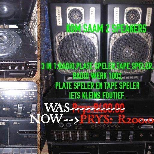 3 IN 1: RADIO, PLATE SPELER & TAPE SPELER