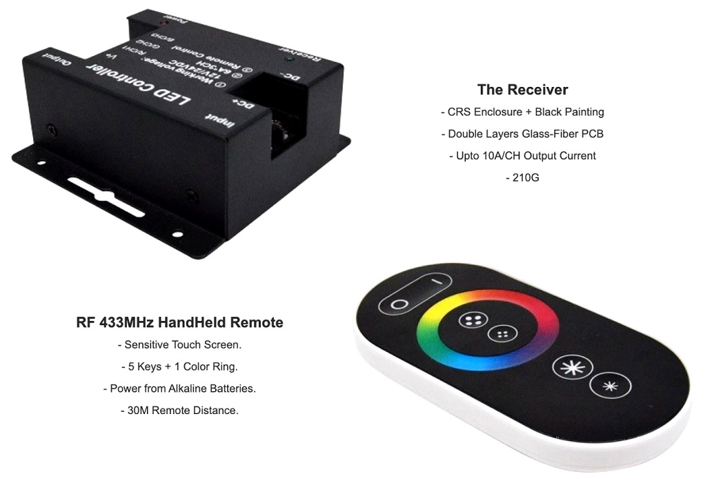 Touch Remote Wireless RGB LED Controller Latest Version 12V/24V. Brand New Products.