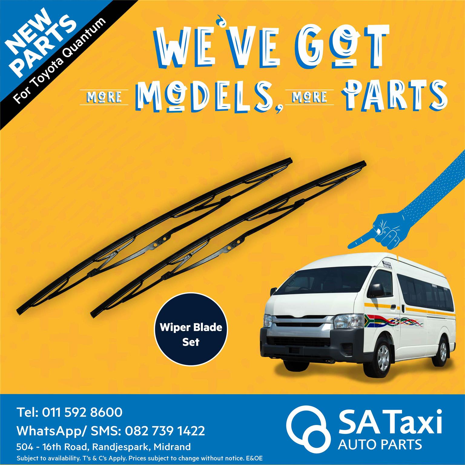New Wiper Blade set suitable for Toyota Quantum - SA Taxi Auto Parts quality spares