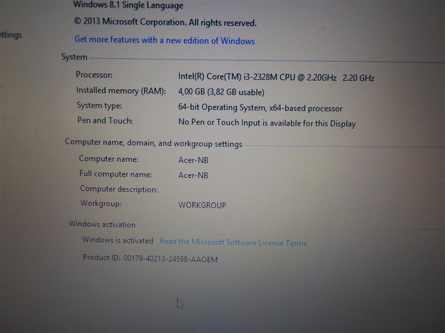 Acer Core i3 Laptop