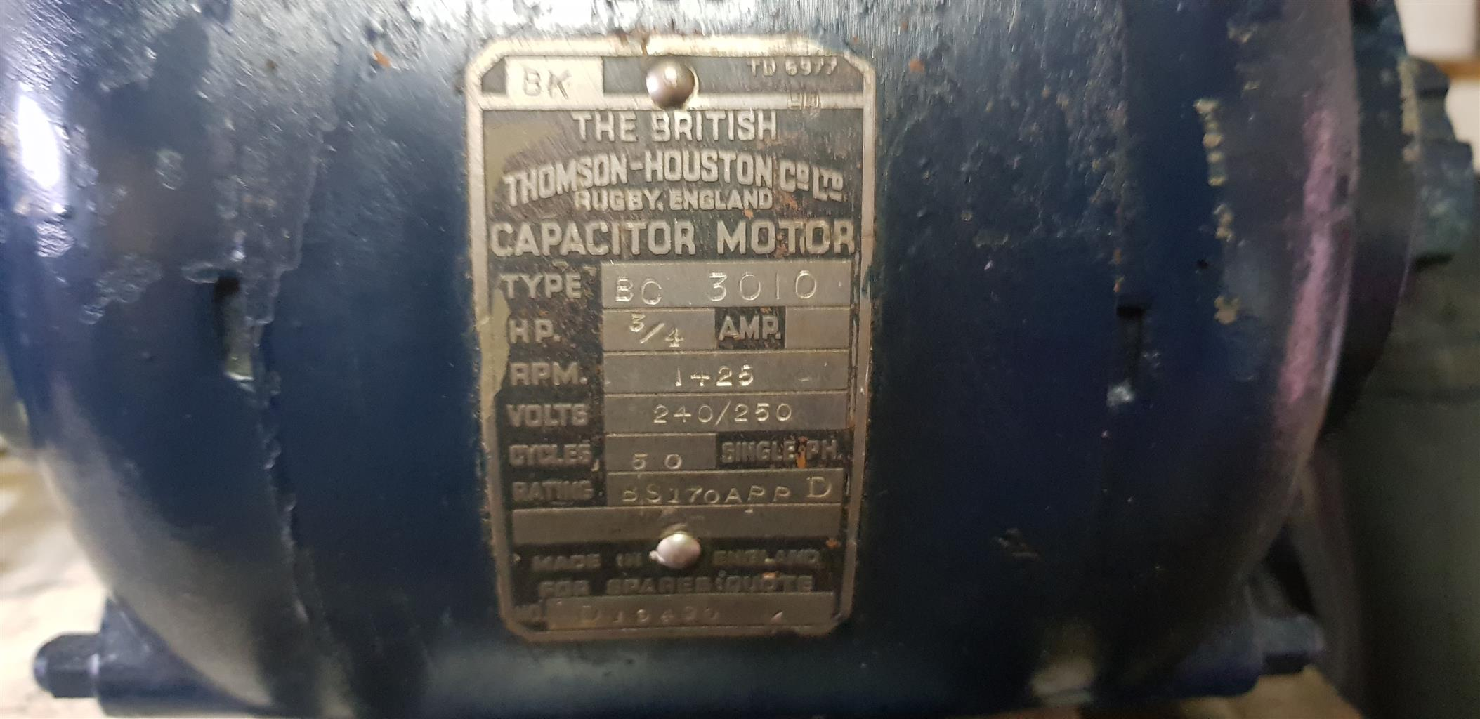 Thomson Houston Capacitor Motor