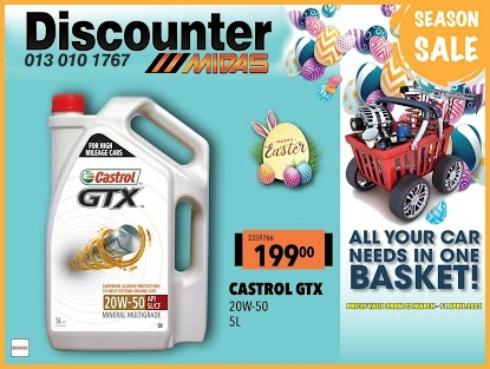 Season SALE! Get Castrol GTX for  at Discounter Midas!