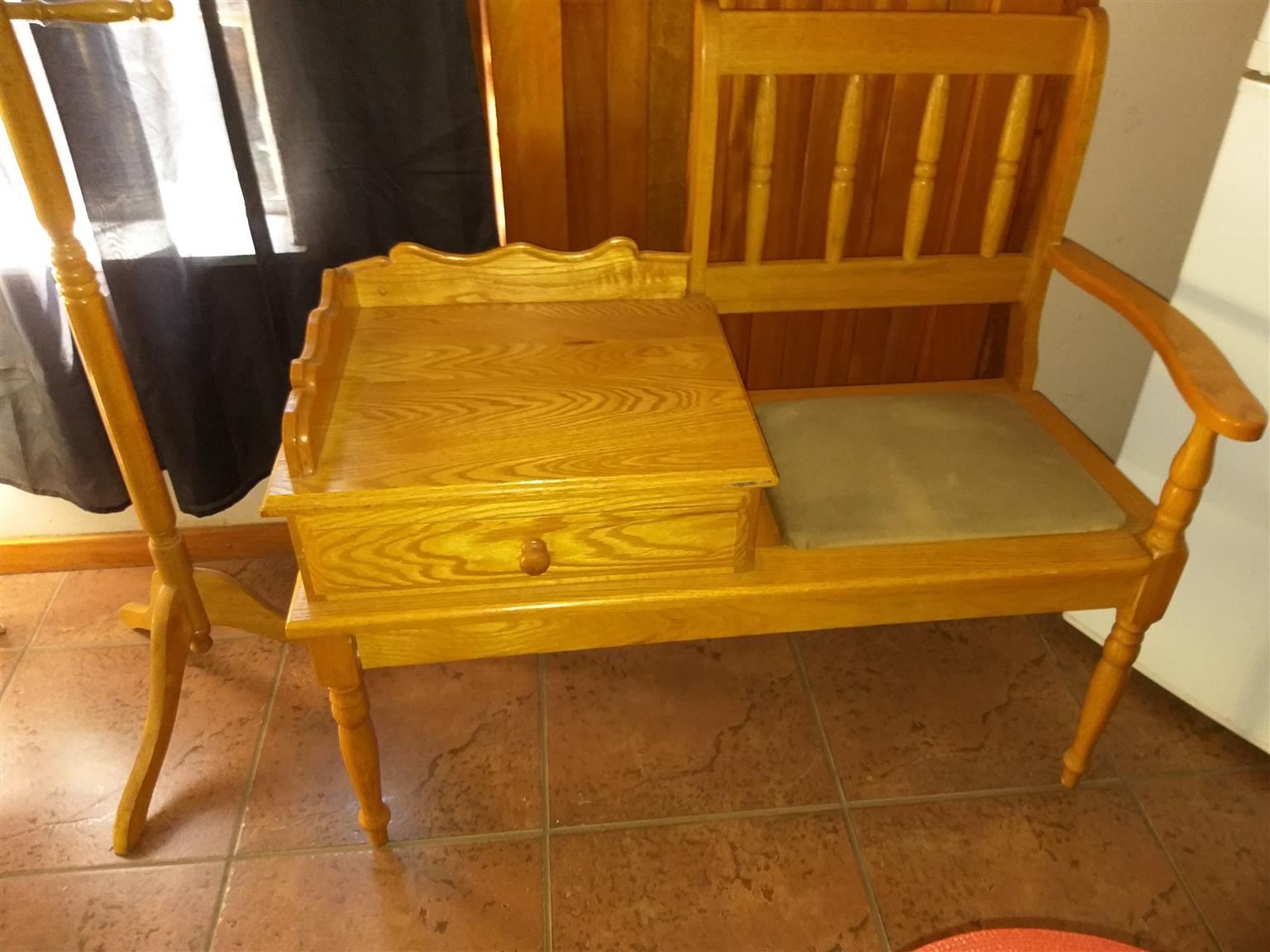 Oak telephone table/seat