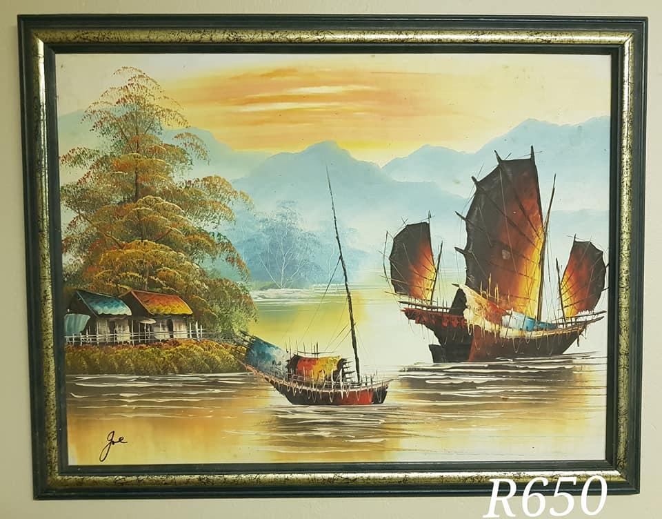 Boats on river scene framed painting