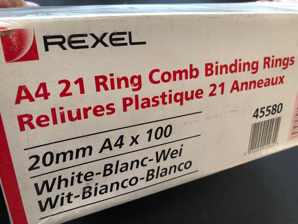 Rexel A4 21 Ring Comb Binding rings - bind up to 170 sheets