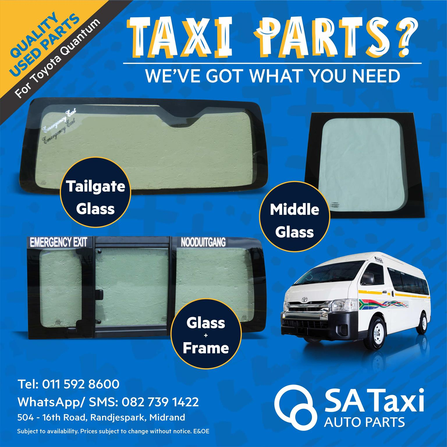 Quality used TAILGATE GLASS for Toyota Quantum - SA Taxi Auto Parts quality spares
