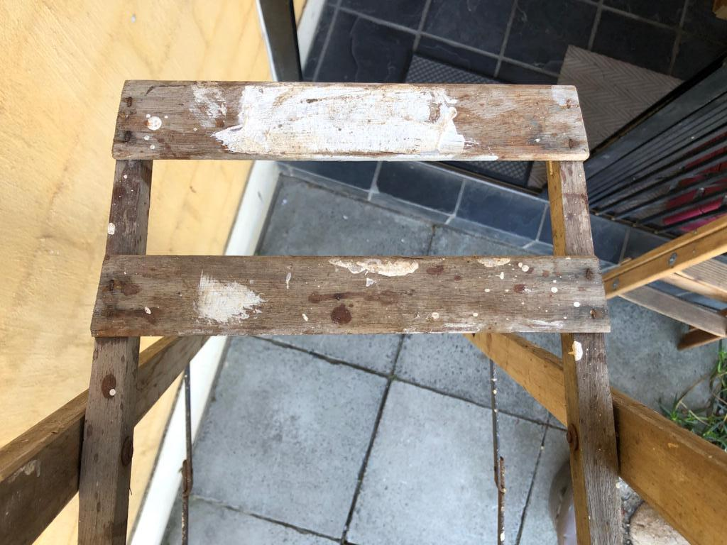 Very tall 8-Step Wooden Ladder for general use or as a deco item