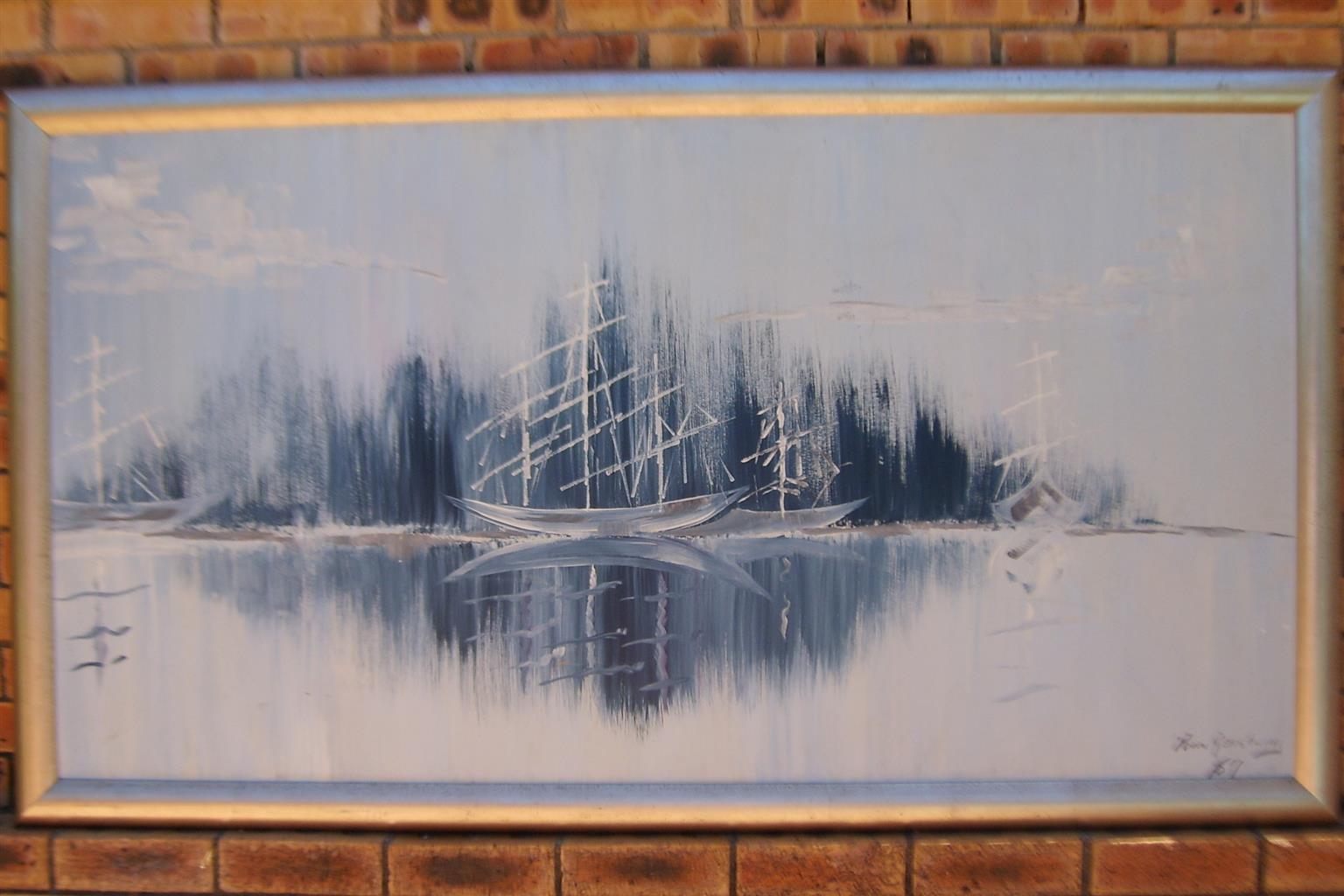 Paul Van Rensburg Boat Scene  Signed and Dated