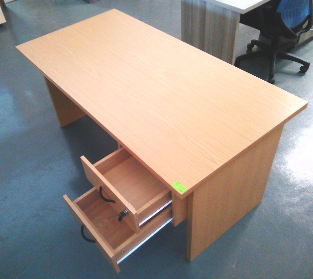 Impact desk plus 2 drawer fitted pedestal