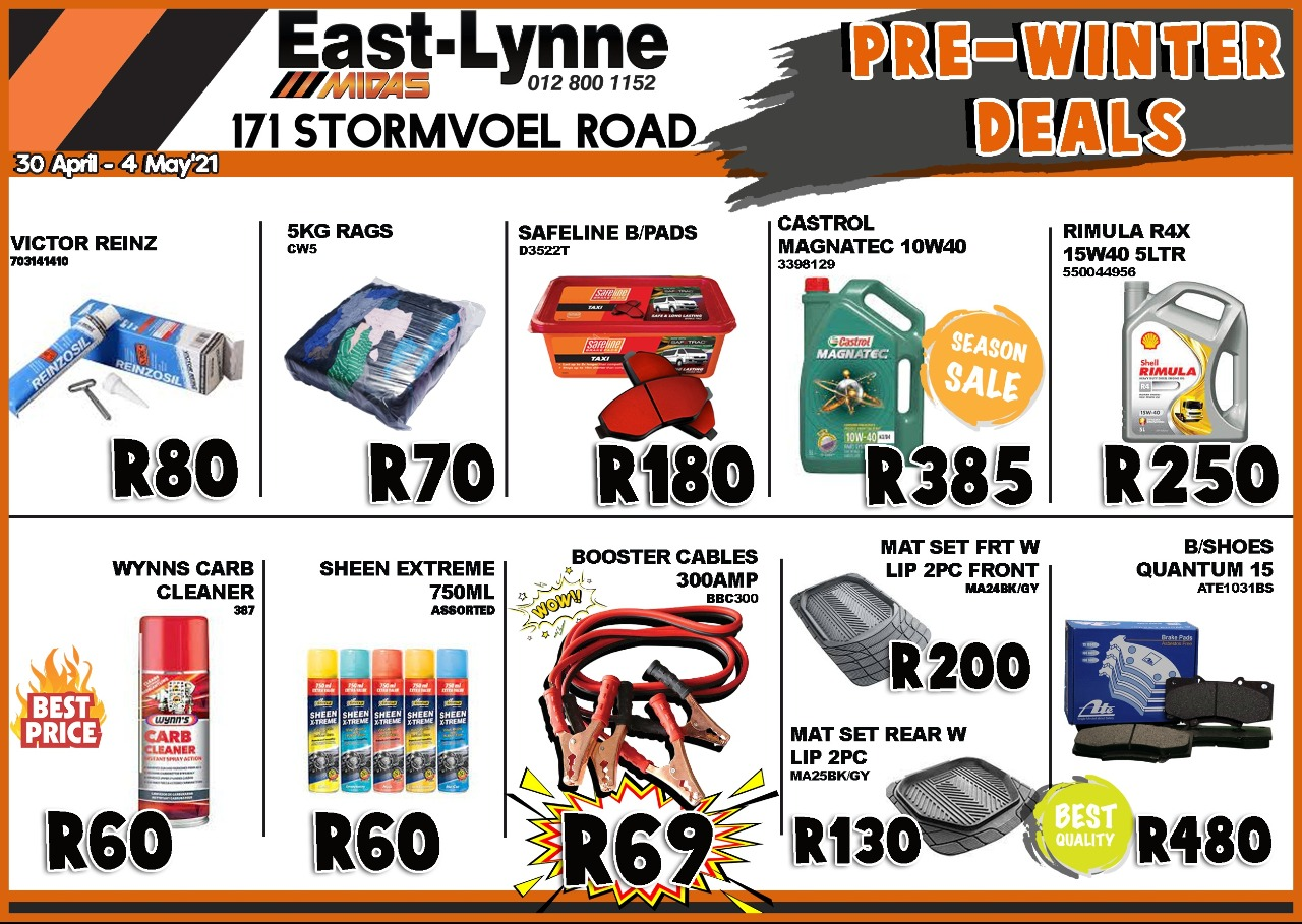 Stock up on your Pre-Winter Automotive Deals at East-Lynne MIDAS!