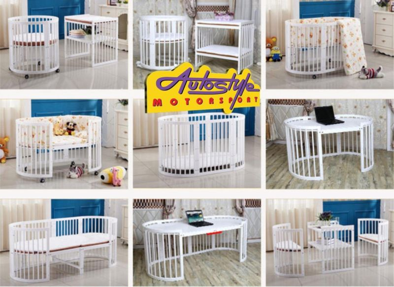 All in 1 Wood baby crib