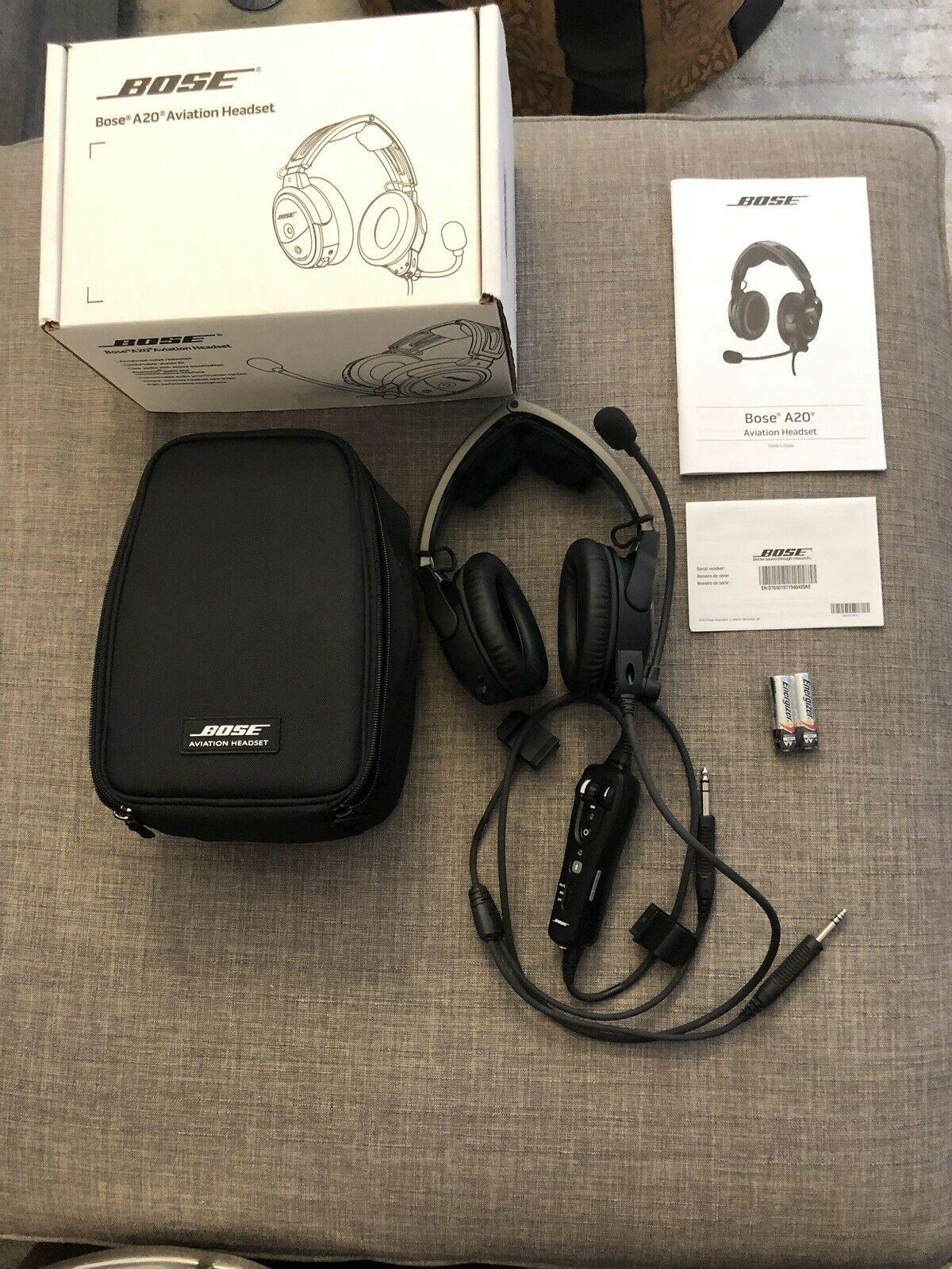 Bose A20 Bluetooth Aviation Headset With Dual GA Plug