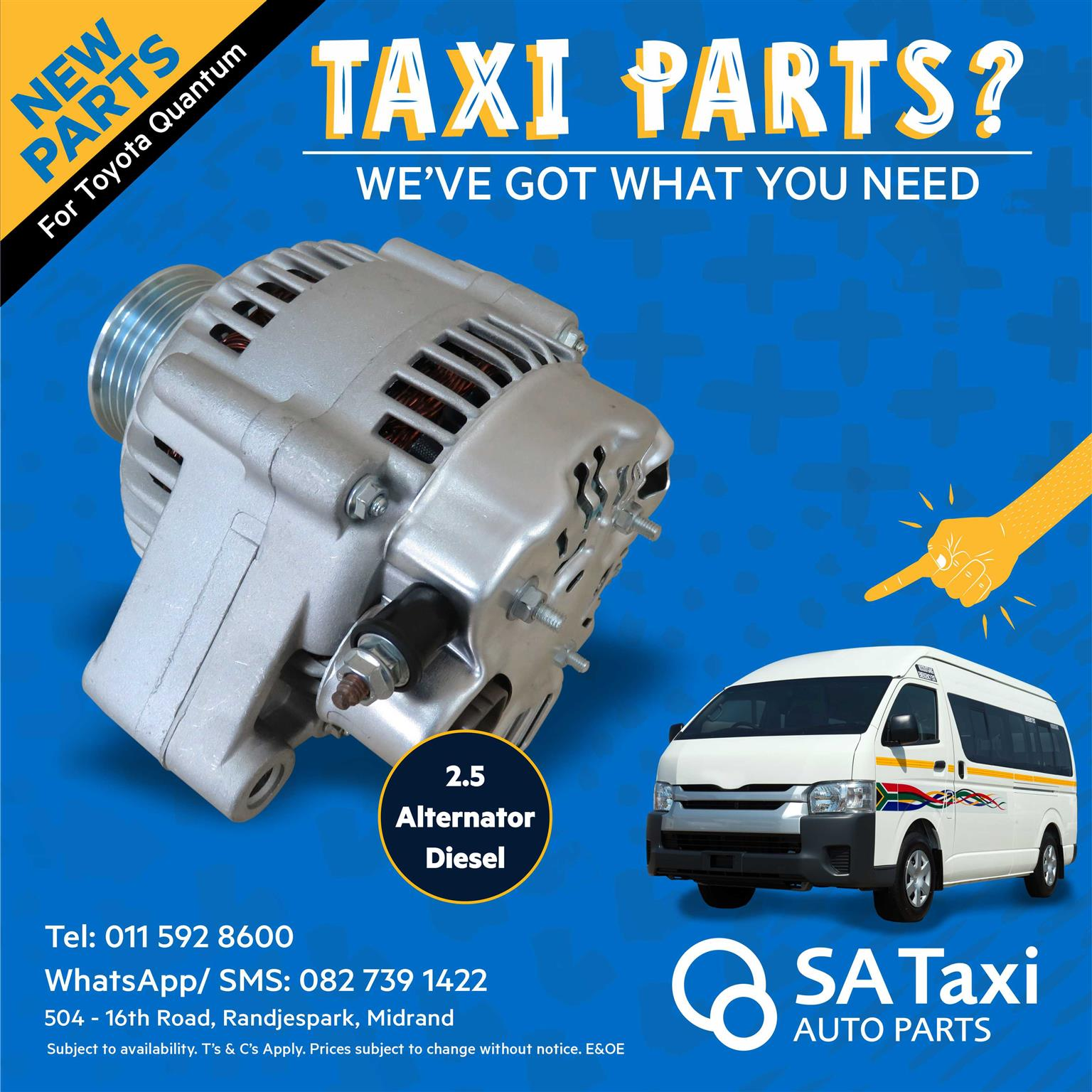 New Alternator 2.5 suitable for Toyota Quantum - SA Taxi Auto Parts quality taxi spares