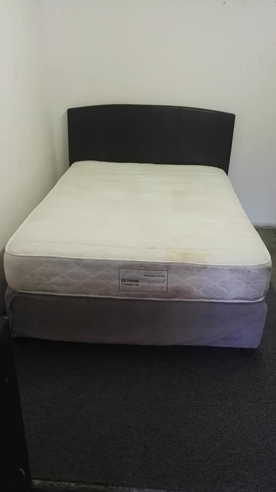 Grey and white double bed base and mattress