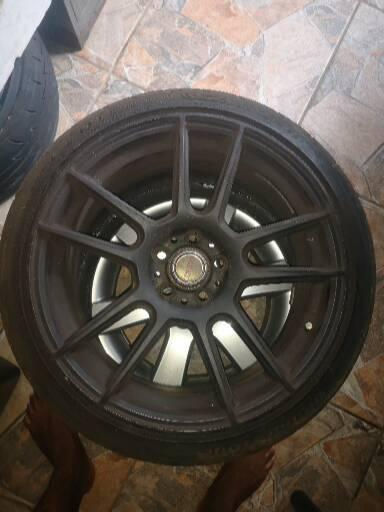 17 inch rims and 3 x semi slick tyres for sale
