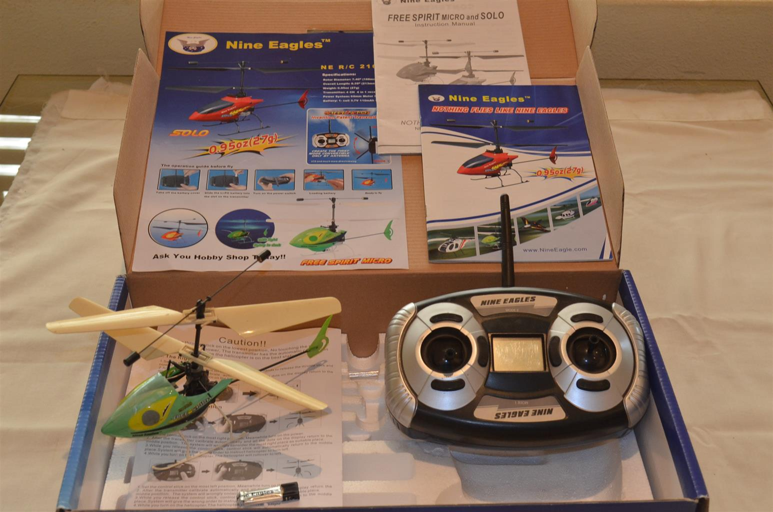 R/C Micro helicopter with transmitter, box and instructions