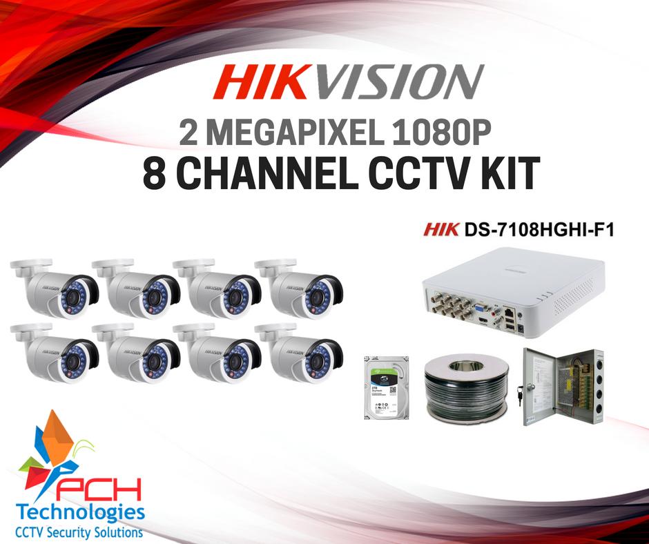 Hikvision 2 megapixel 1080p cctv kit 8 channel