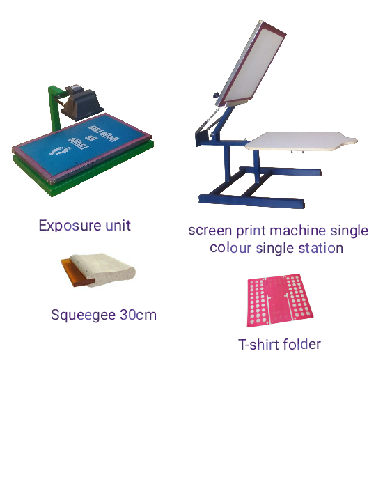 Screen print machine 1 Station 1 Colour, wooden 30cm Squeegee, T-shirt folder and Exposure unit