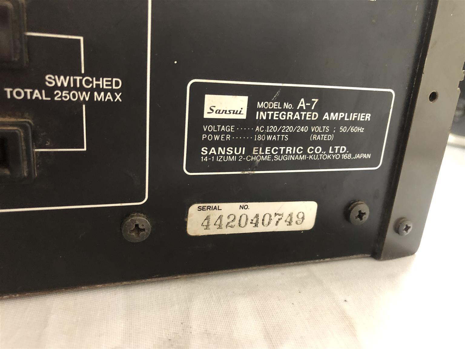 Amplifier Sansui A-7 2 Channel - C033056404-1