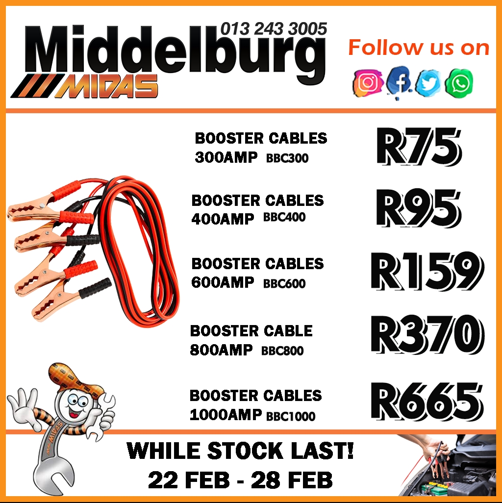 Booster Cables available at Middelburg Midas -Sparesworld!
