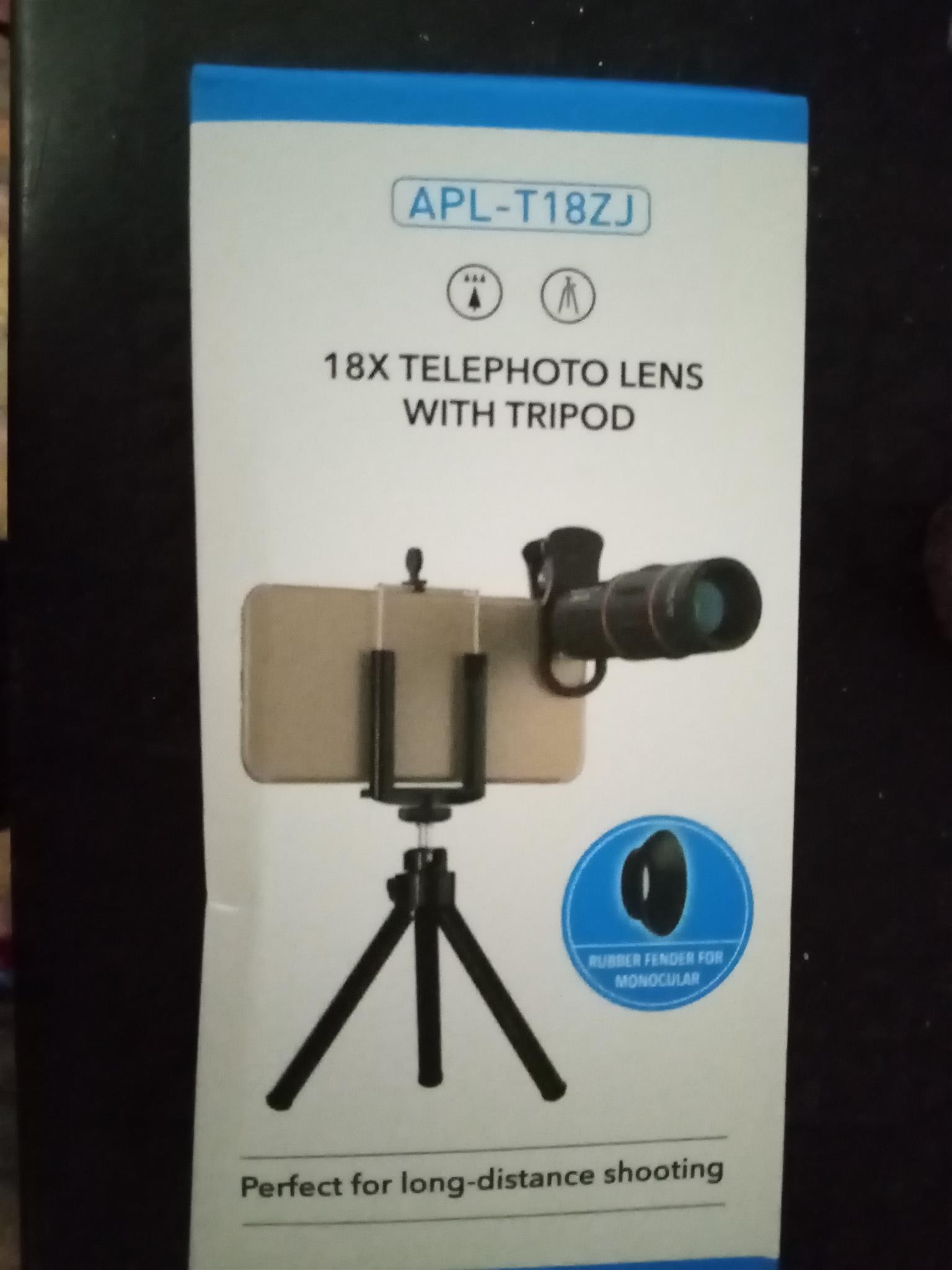Telephoto lens with tripod