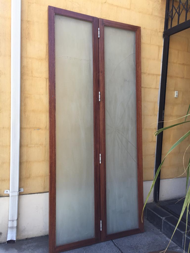 Tall Designer Solid wood and glass door set - 2 panels on hinges - see pictures and description below
