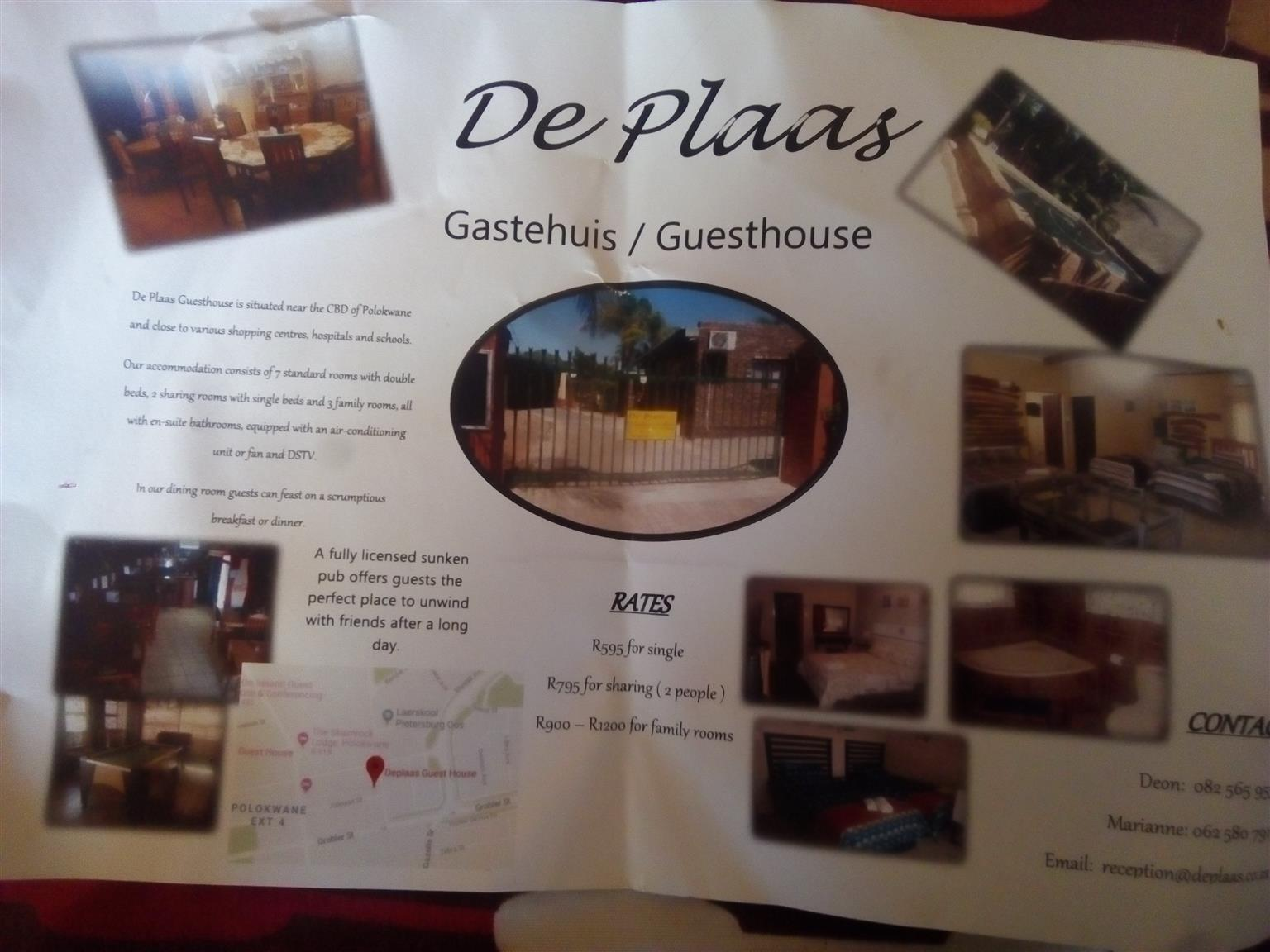 De Plaas Gastehuis Guesthouse