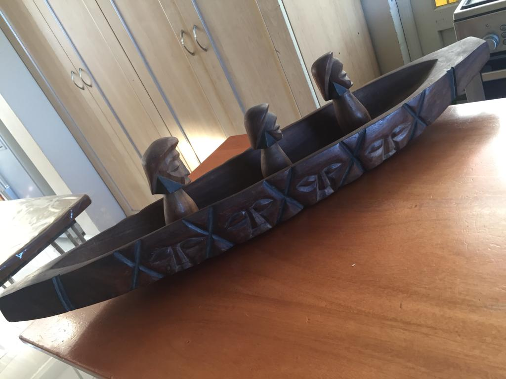Large Hand Carved Folk Art African Canoe with 3 Figures-Wood anniversary present!