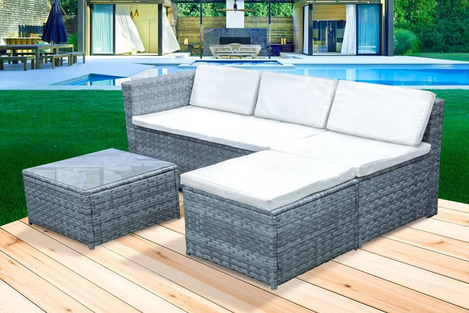 4 Piece Rattan Livorno Lounge Set - Marble Black