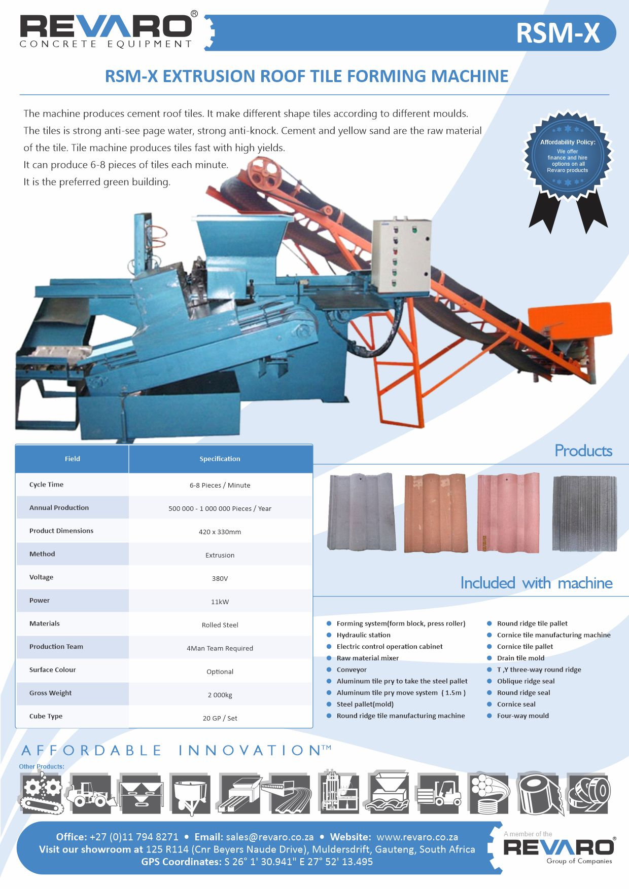 Roof tile machine with capacity of 4000 tiles per 8 hour shift Affordable and profitable