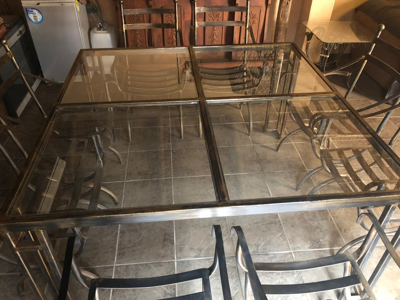 WROUGHT IRON GLASS TOP TABLE 8 SEATER