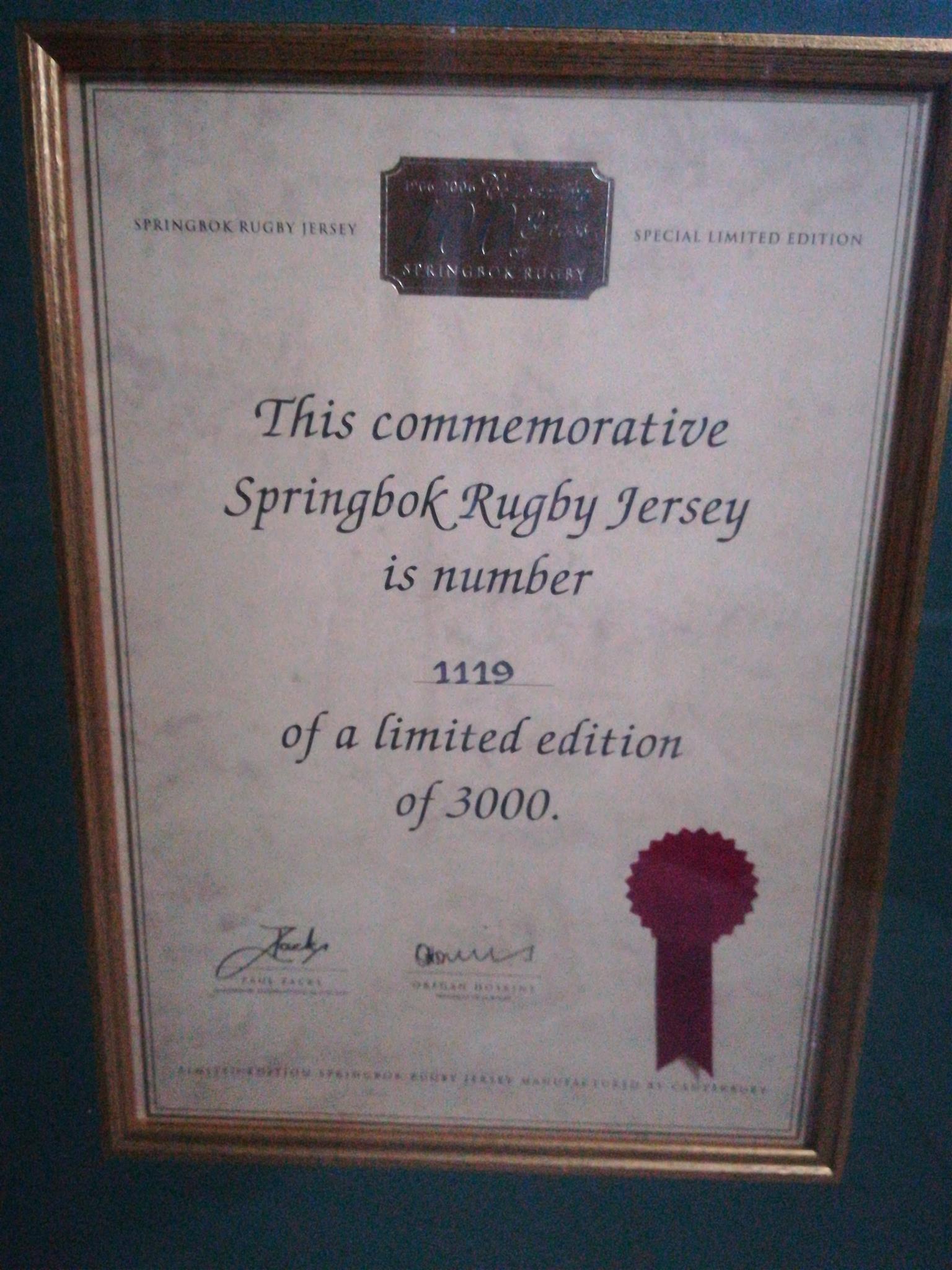 Framed Sprinbok jersey. Limited addition