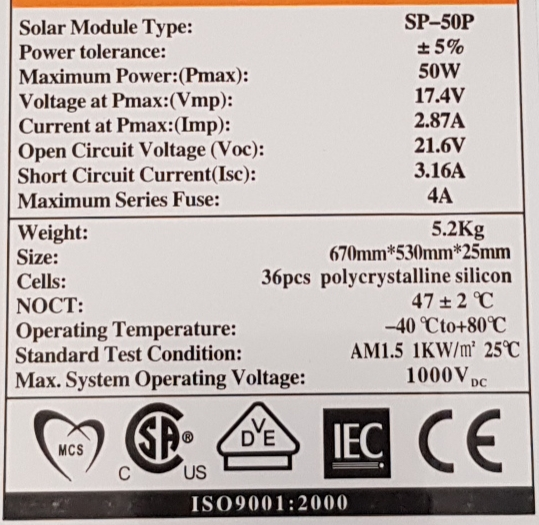 Solar Panel 50W with 10A LCD Charge Controller New
