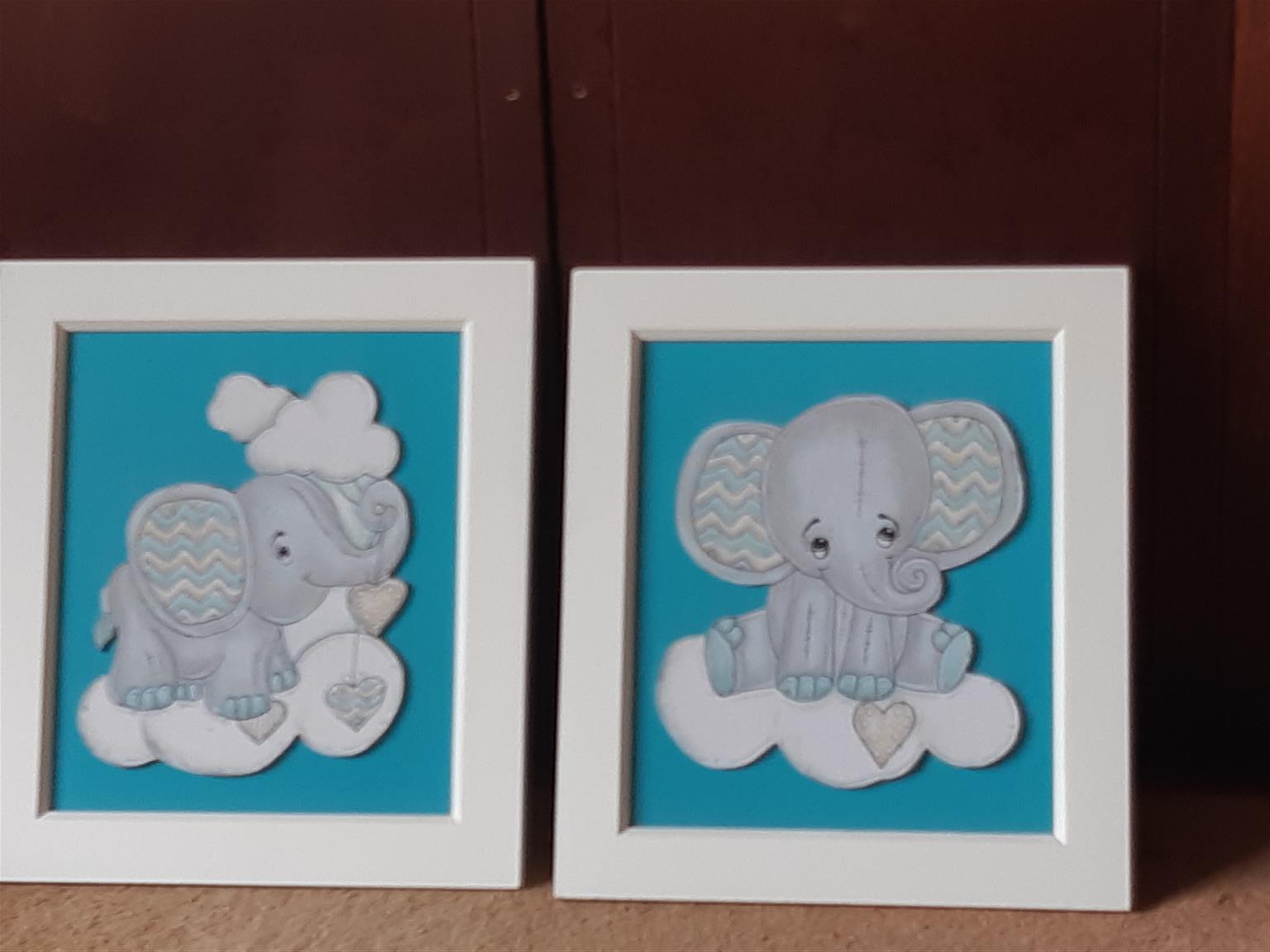 2 framed elephant paintings