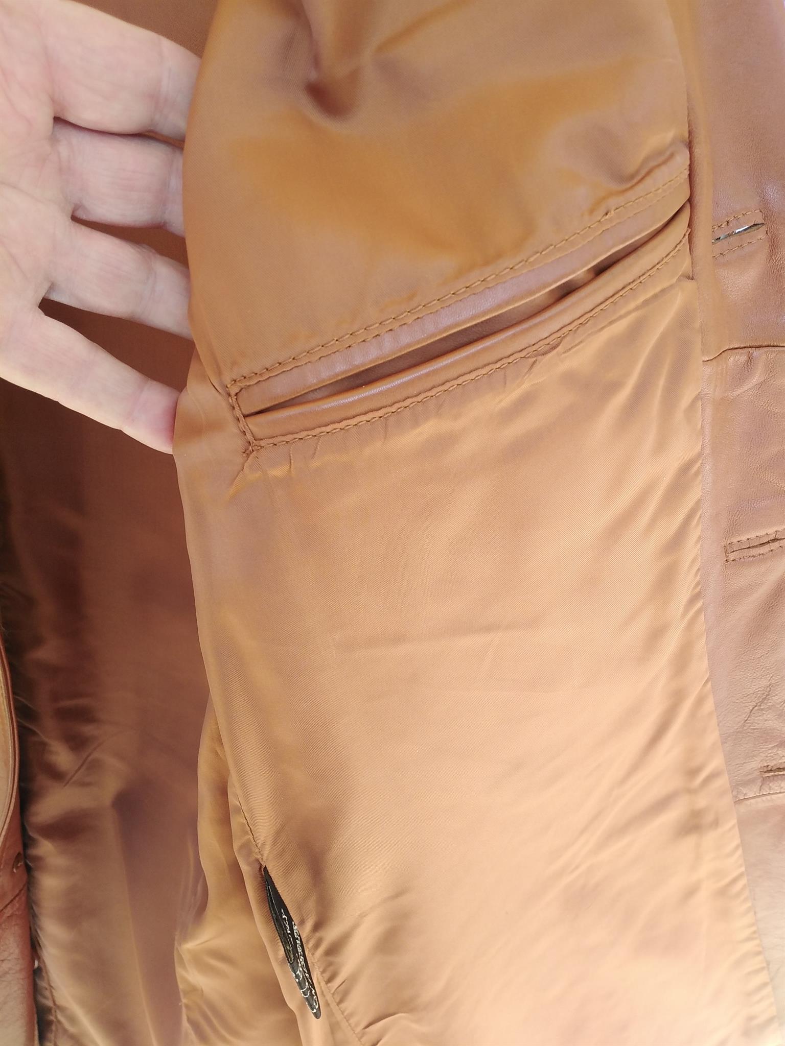 Tan leather jacket