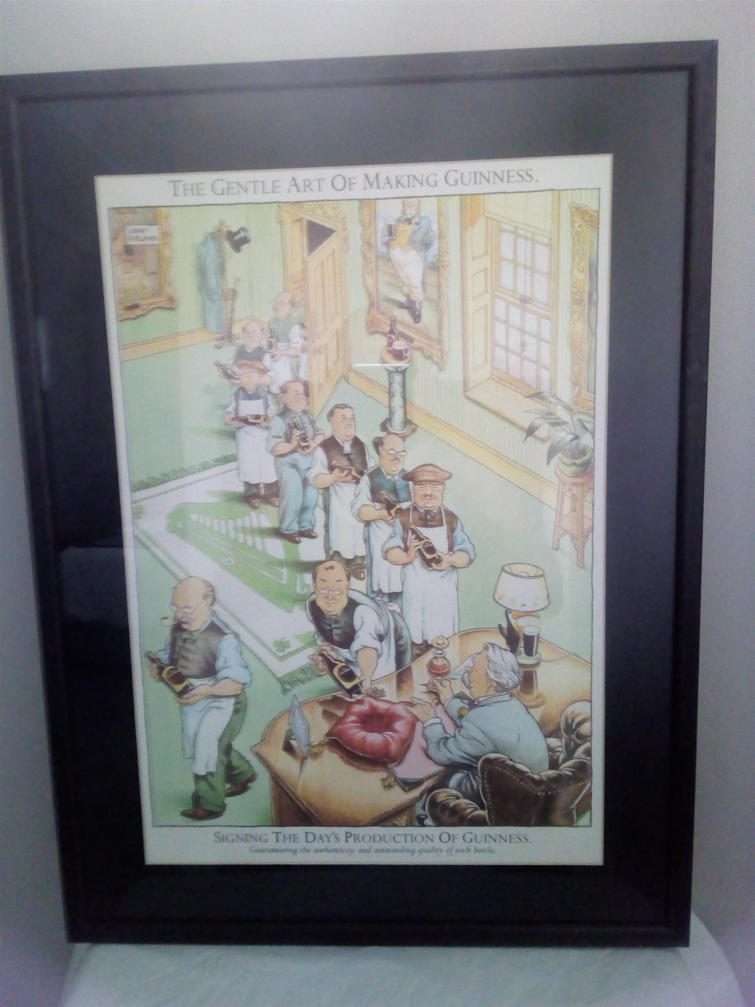 A complete set of 12 glass framed pictures (January - December) reprinted from The Gentle Art of Making Guinness Calendar.