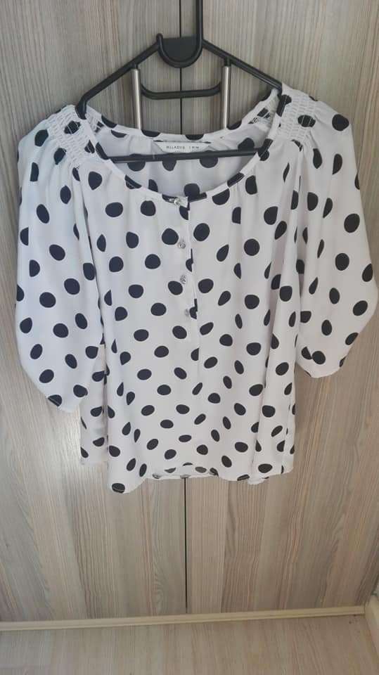 White and black polka dot top for sale