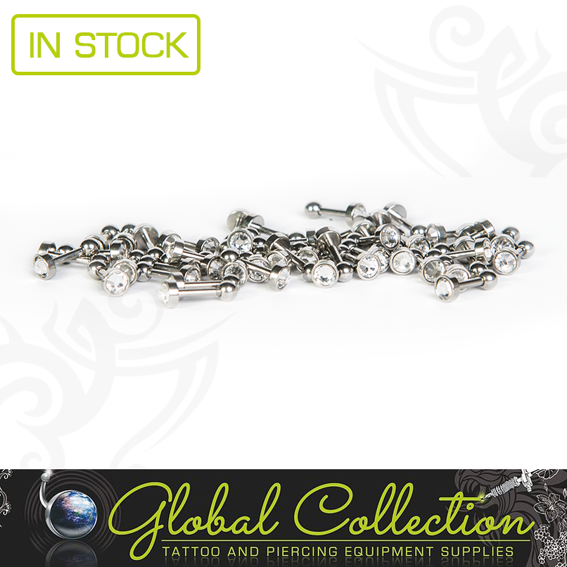 PRODUCT: Helix or Trag Fancy Clear Crystal Bar With Ball Closure.