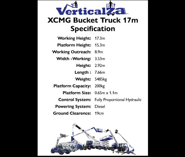 VerticalZA Bucket Truck – XCMG Mounted 17m Manlift CHERRY PICKER