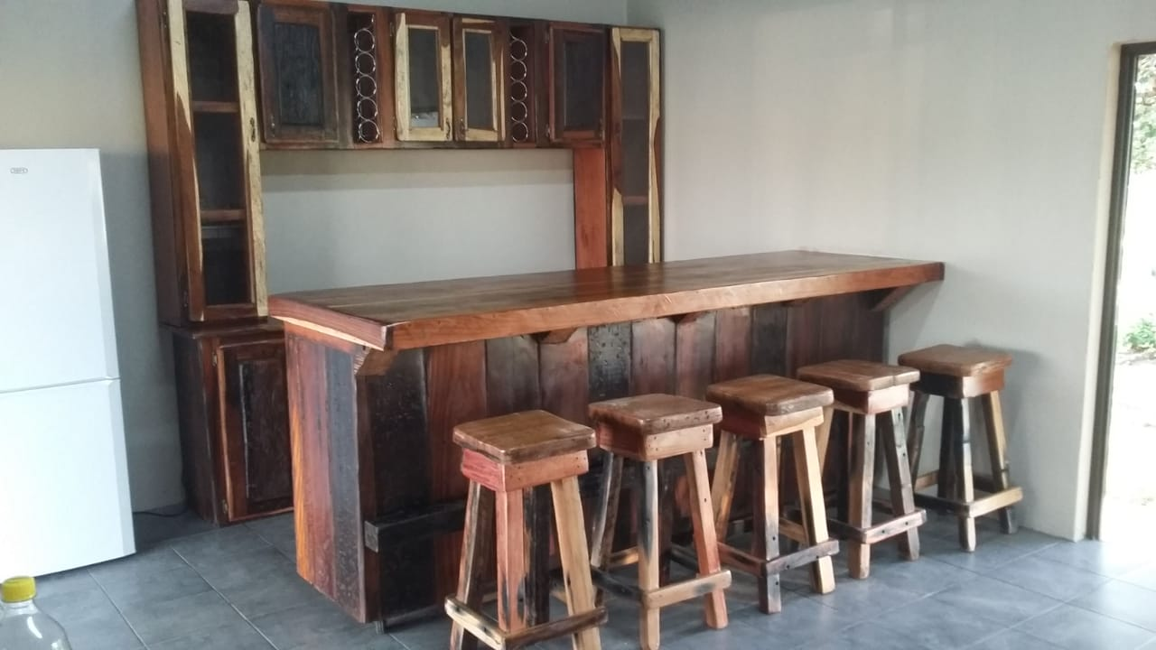 Cupboard with counter and seats