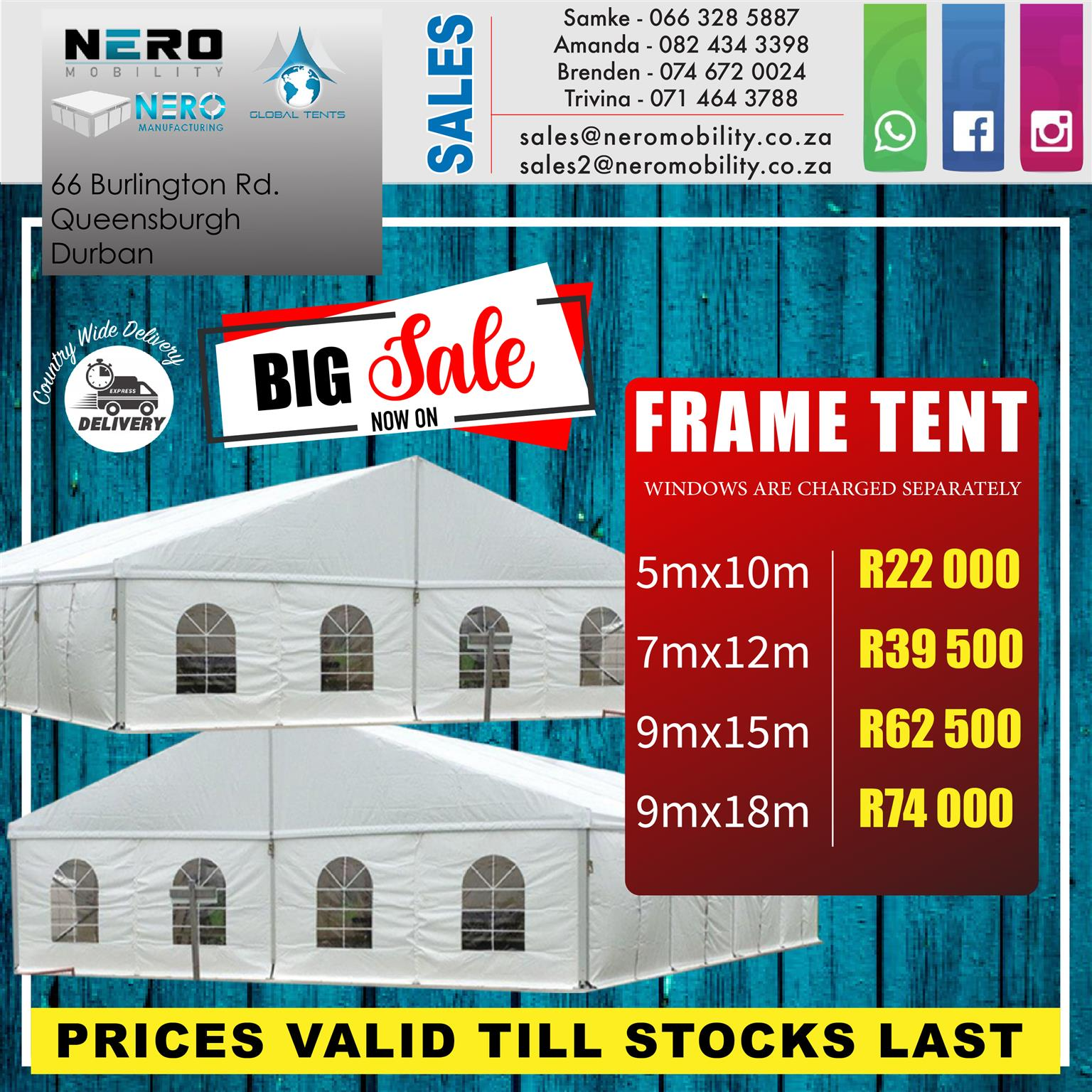Frame Tents now on Sale
