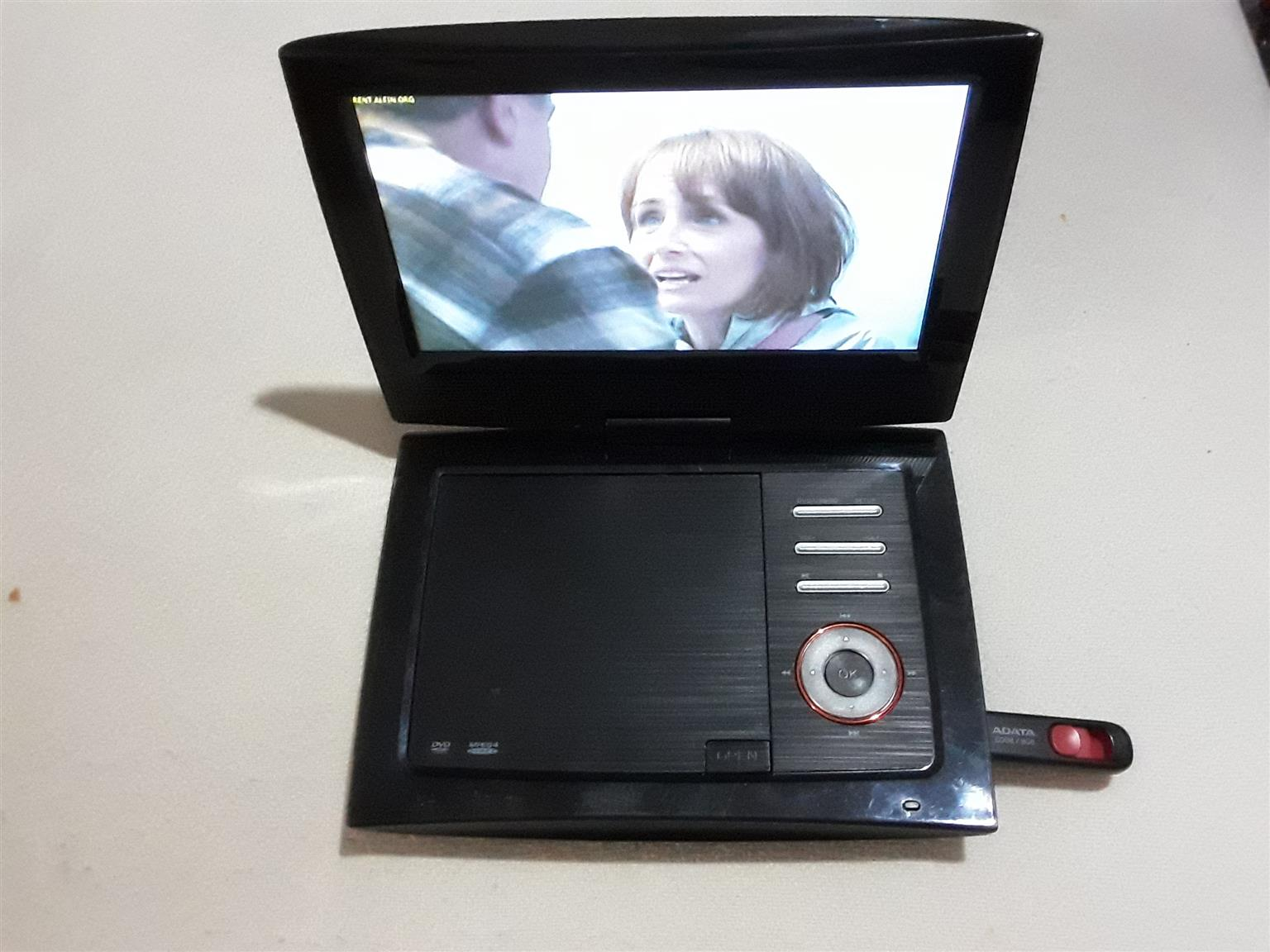 """Sansui LCD/DVD Player PD1004-9"""" . USB Port for Playing Flash Drives, Composite Audio Video Out,"""