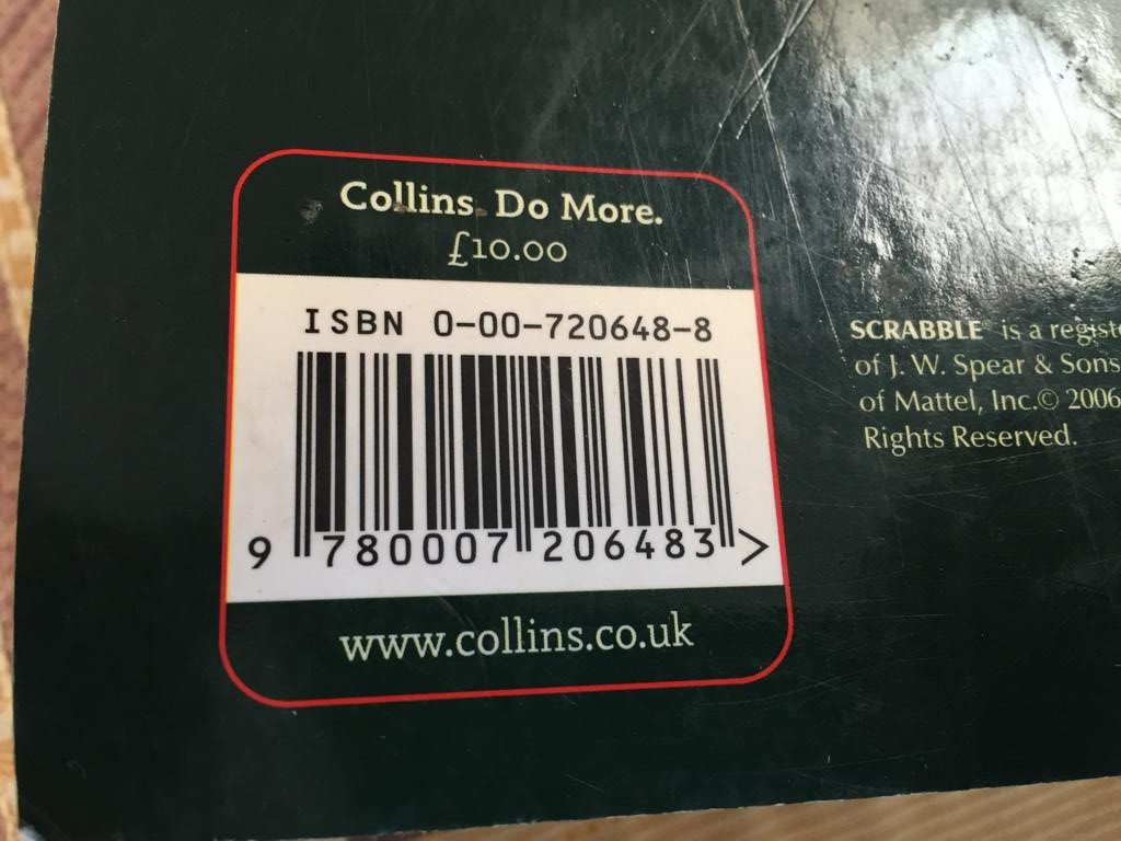 Collins Scrabble Lists in Paperback 0 over 1100 pages!
