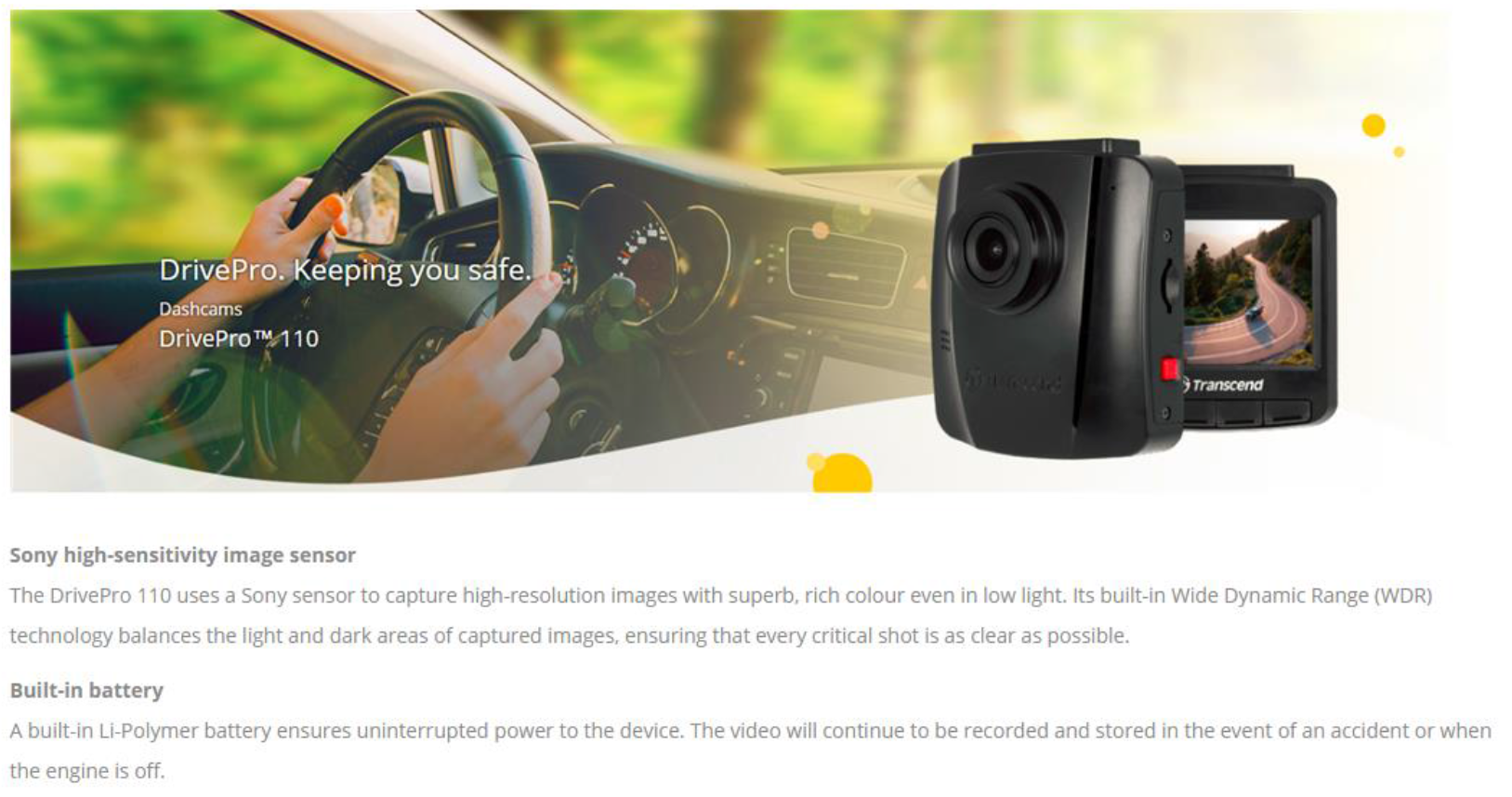 Transcend DrivePro 110 DashCam Suction Mount In-Car Video Recorder
