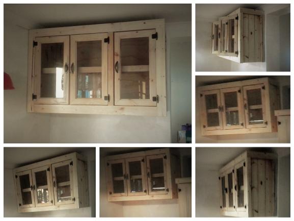 Kitchen Cupboard Wall Unit Farmhouse Series 1300 Glass Doors Raw Junk Mail