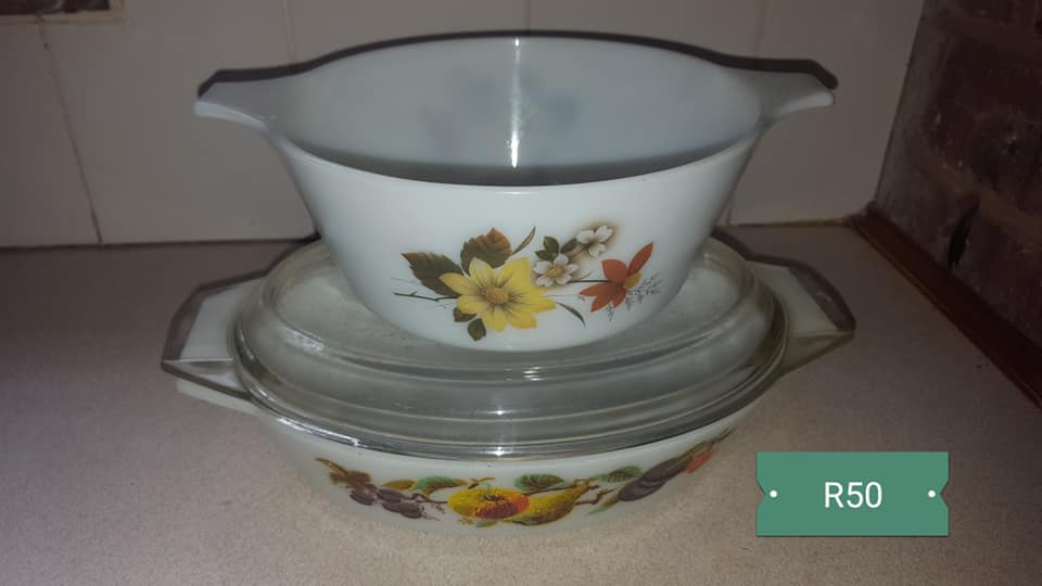 Yellow flower white bowl and casserole set