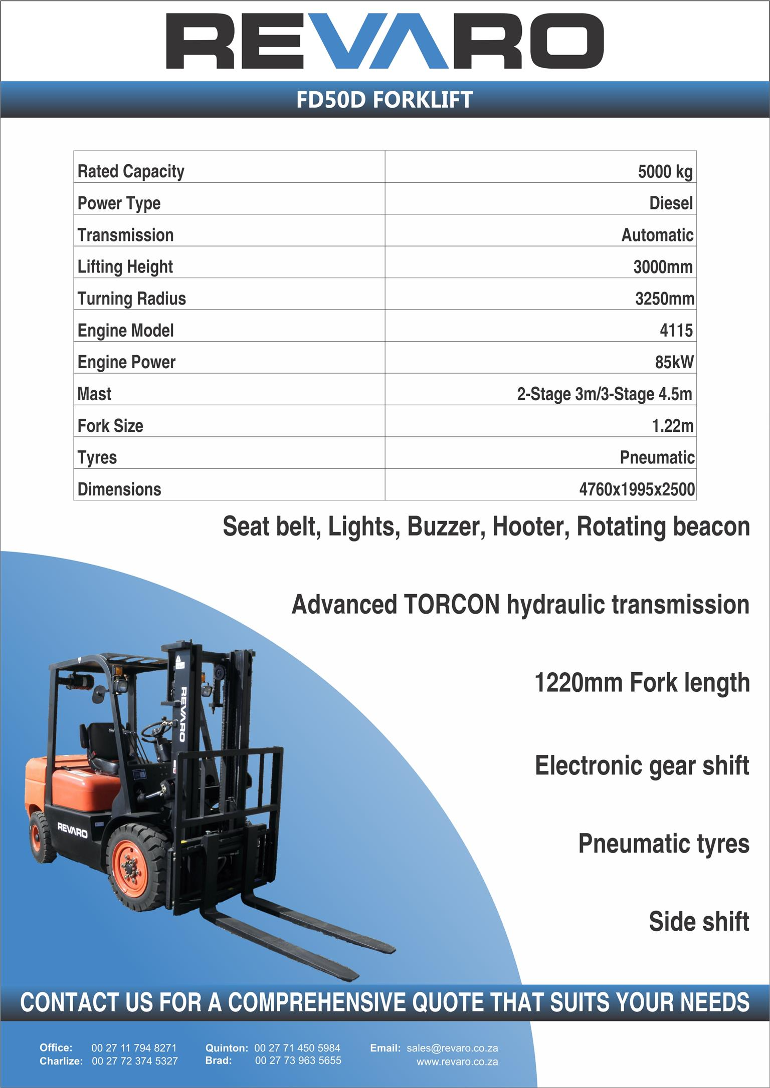 Revaro forklifts standard and all terrain Affordable Innovation